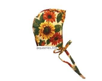 Baby Bonnet, Floral Bomnet, Newborn Bonnet, Girls Bonnet, Floral Romper, Baby Romper, Sunflower Bonnet