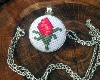 Modern jewelry, Summer necklace, Red rose necklace, Rose jewelry, Red flower jewelry, Embroidered pendant, Pendant rose, Everyday necklace