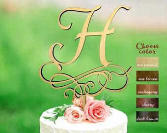 Letter h cake topper, Rustic Cake Topper, Initial Cake Topper, Wedding Cake Topper Letter, Letter Cake Topper, Monogram Cake Topper, CT#228