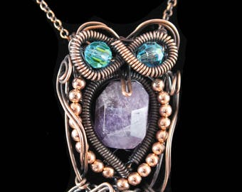 Amethyst And Swarovski Crystal Copper Whimsical Wire Wrapped Owl