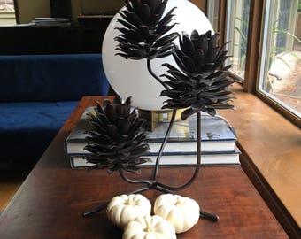 Pine Cone Home Decor / Three Tiered Pine Cone Candelabra / Sculptural Candelabra