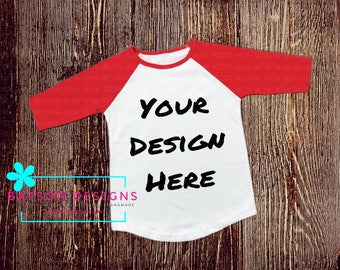 Red Sleeve Baseball Style Shirt Mockup Instant Download | T-shirt Top Mock-up Wood Background JPEG File | Commercial Use