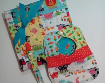 Baby Gift Package, Baby Quilt, Crib Quilt, Baby Shower Gift, Baby Gift, Baby Playmat, Homemade Quilt, Bib, Binky Clip, Farm Animals
