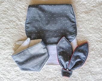 Baby Gift Set - Gray - Teething Ring, Bandana Bib, and Burping Cloth