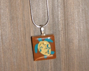 Handmade, sea turtle scrabble necklace