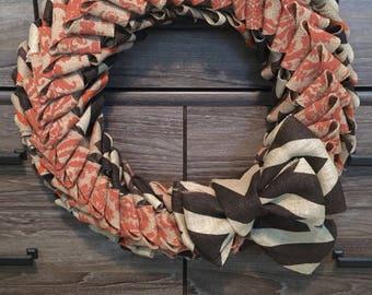 Elegant Rustic Burlap Orange & Brown Wreath for Fall and Autumn - Brown Orange Chevron - Orange Damask Burlap