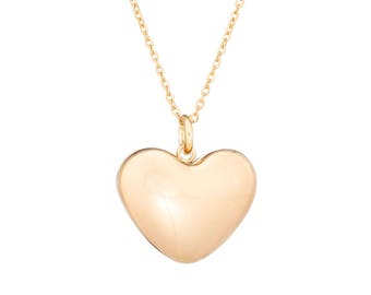 """Stainless Steel Puffed Heart Gold-IP Plated Pendant Necklace 18"""" Chain"""