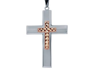 "Silver-Tone Cross with Rose Gold-Tone Diamond Cut Jesus Cross Necklace Pendant in Stainless Steel, 18""- 24"" Chain"