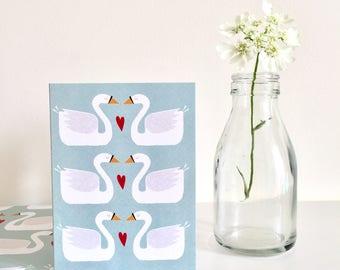 Swans Mini Greetings Card | valentines | anniversary card | love card | friendship