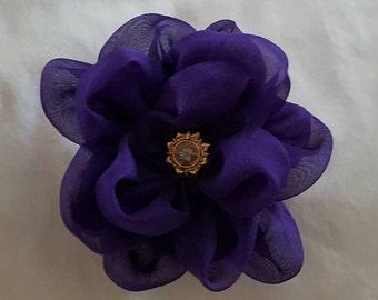 Pin Ladies Womens Fashion,Purple Chiffon Pin, Fabric Flower Pin, Fabric Flower Brooch, Brooch, Wedding Flower,Corsage,Flower Embellishment