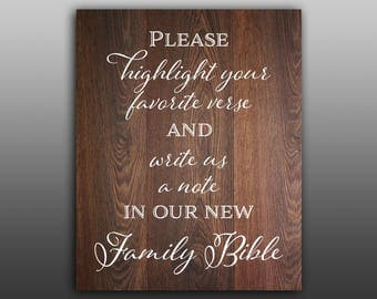 Sign our bible sign Highlight your favorite verse Wedding bible verse Highlight scripture guestbook Bible guest book Wedding wood background