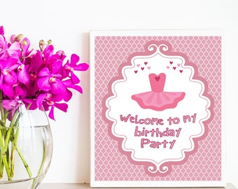 Ballerina Ballet Welcome sign for Birthday/Baby Shower Party, Princess Welcome Sign, Ballerina Ballet Decorations Sign,Party Sign,Ballet Art