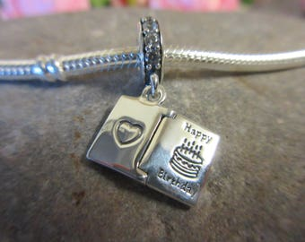 Authentic Pandora Happy Birthday Wishes 791723CZ Free Velvet Pouch Bag