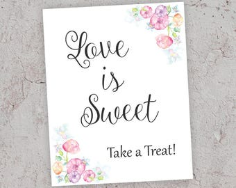 Love is Sweet Take a Treat, Bridal Shower Sign, Pink Bridal Sign, Bridal Sign Printable, Love is Sweet Bridal Shower Sign, J010