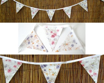 Purple and Pink Petals BUNTING / Garland - PVC / Oilcloth - 3 Metres +