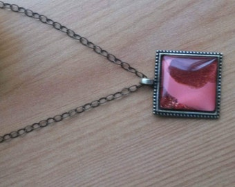 Coral Antique Gold Nail Polish Pendant on Antique Gold Chain - NPPS1