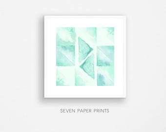 Abstract watercolor downloadable print. Geometric painting. Printable art watercolour. Afford wall art. Green pattern. Art. Cheap wall decor