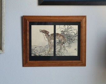 Japanese Woodblock Print Ookami Wolf by Kono Bairei from Inaka No Tsuki