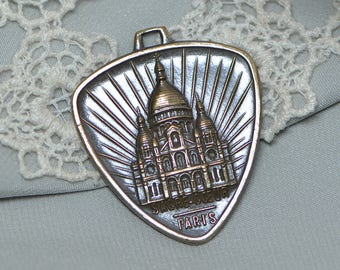 Sacre Coeur Sacred Heart Cathedral Vintage French Art-Deco  Pendant Antiqued and Polished Brass 1930's 1 Piece 545J