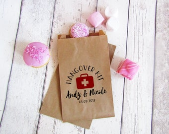 Hangover kit bags, party favors, DIY bride, hens party favours, hangover survival kit bags, bachelorette party recovery kit, hangover bags