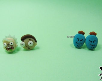 Rick and Morty Earrings  Rick Sanchez  Morty Smith  Mr Meeseeks  Cartoon  Pendants  Cute  Kawaii