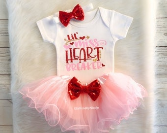baby girls valentines day outfit baby girl little miss heart breaker girl valentines day bodysuit valentines - Valentines Baby Outfit