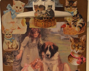 Victorian Style Cat and Dog Clipboard