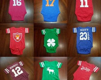 Athletic baby onesie, football onesie, varsity, custom onesie, baby shower gift, baby clothes, baby gift, birthday onesie,funny baby gift