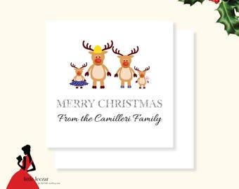 Personalised Reindeer Family Christmas Card, Custom Family Christmas Card