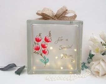 Personalised Light up Block, Personalised Mum Gift, Glass Block Light