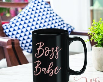 Boss Babe Coffee Mug | 15 oz Coffee Mug | Rose Gold Boss Babe Mug | LipSense Mug | Rodan and Fields Mug | Boss Babe | Gifts for Her | Coffee
