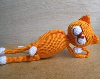 Cat lover gift/ Crochet cat/ Cat crochet/ Orange cat/ Crochet Itiro/ Crochet Amineko cat/ crochet plush toy/ soft toy/ Cat plush/ Small cat