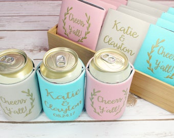 Wedding Can Coolers Cheers Y'all can cooler, Custom Wedding Can Cooler, Southern Wedding, Rustic Wedding, Wedding Favors