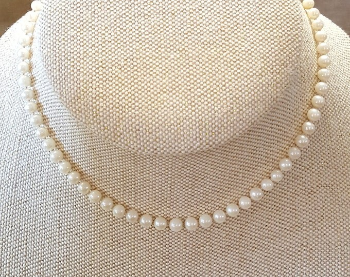 """On Sale - Pearls Knotted Princess Length Single Strand Necklace 14/20 Gold Filled Clasp 18"""" Vintage"""