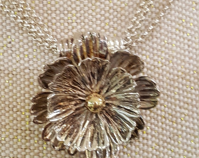 Vintage Esposito Solid Sterling Necklace 4-Strand Chain Snaps Pendant Interchangable
