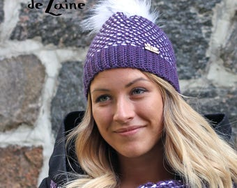 Women hat ARTIC, winter women hat, purple and white, Tunisian crochet hook, adult size
