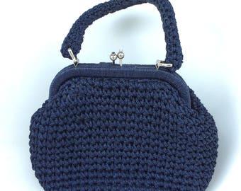 1950/60 vintage handbag - Elegant handbag in dark blue knitted wool like new