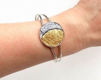 Moon bracelet Phases of the moon silver Leather anniversary bracelet Leather boho cuff Gold and silver cuff bracelet Celestial jewelry
