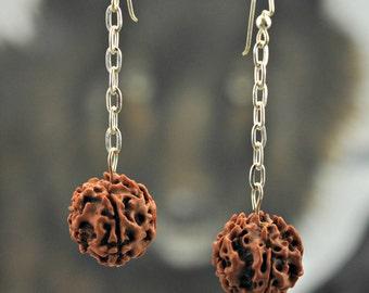 Rudraksha Seed Bead .925 Silver Earrings