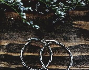 "Silver Twist Rope Hoops / Southwest Hoops / Sterling Silver Hoops / 1"" Silver Hoop Earrings / Southwest Earrings / Southwestern Earrings"