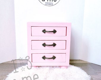 """The Rosie - Three drawer side stand for 18"""" dolls"""