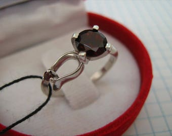 Solid 925 Sterling Silver Ring Real Genuine Natural RED GARNET Precious Gemstones Small Common Delicate Everyday US size 6.75 Russian sz 17