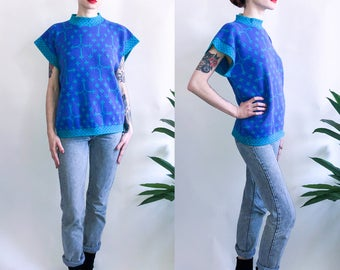 80's Cross Print Teal and Purple Sweater Top