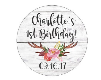 Custom Birthday Party Favor Stickers Custom Date Labels Tags Floral Antlers Branch Flowers Watercolor Rustic White Wood Candy Bags Buffet