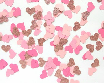 Ombre Pink Heart Party Confetti - Pink Heart Bridal Shower Confetti - Pink Heart Baby Shower Confetti - Pink Glitter Heart Party Confetti