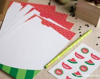 Watermelon Stationery Set | 20 sheets + 10 kraft envelopes + 10 stickers + 1 decorative pencil