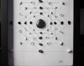 Hematite, Black Onyx, Howlite Square Crystal Grid