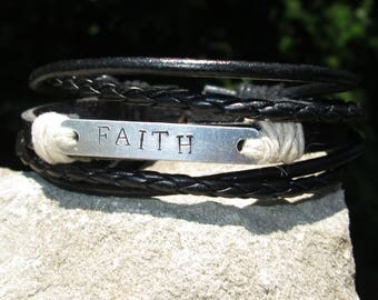 Men's Leather Bracelet - Men's Jewelry - Gift for Him - Leather Bracelet - Hand Stamped Bracelet - Multi Strand Bracelet - Slide Closure