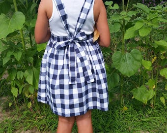 Girls Gingham Pinafore Dress Tie Back Straps