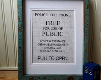 Police Call Box Sign Wall Art, TARDIS Art Print, Doctor Who Gift, Sci Fi Gift, Sci Fi Wall Art, Dr Who Print, Geek Gift, Geek Decor